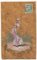 Carte En Bois Peint Belle Femme Art Nouveau Art Card Wooden Hand Painted Card - Cartoline