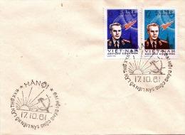 VIETNAM 1961, 2 Fach Sondermarken Raumfahrt Frankierung Auf Brief, 2 Sonderstempel HANOI-VIETNAM - Vietnam