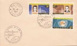 VIETNAM 1964, 3 Fach Sondermarken Raumfahrt Frankierung Auf Brief, 3 Sonderstempel HANOI-VIETNAM - Vietnam