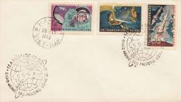 VIETNAM 1964, 3 Fach Sondermarken Raumfahrt Frankierung Auf Brief, 3 Sonderstempel CCCP + HANOI-VIETNAM - Vietnam