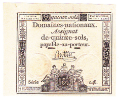 FRANCE : ASSIGNAT 15 SOLS Du 4 JANVIER 1792 - NEUF (1 Scan) A - Assignats & Mandats Territoriaux