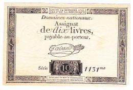 FRANCE : ASSIGNAT 10 LIVRES Du 24 OCTOBRE  1792 FILIGRANE ROYAL (1 Scan) A - Assignats & Mandats Territoriaux