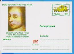 BLAISE PASCAL, ARITHMETIC MACHINE,  ROMANIA STATIONERY - Informática