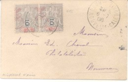 1908 NOUVELLE CALEDONIE A PHILATELISTE ED. CHEVAL ENVELOPPE FRANKED WITH 15 CENTS PAIR WITH VERY DISPLACED OVERPRINT MAK - Nieuw-Caledonië