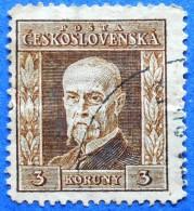 CZECHOSLOVAKIA TOMAS GARRIGUE MASARYK 3 K 1925-26 Mic.226 Y  - USED - Gebraucht