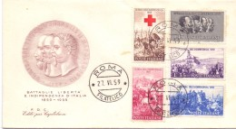 FDC - EDITE´ PAR CAPITOLIUM - ITALIA -  CENTENARIO DELLA II GUERRA D´INDIPENDENZA - ANNO 1959 -TIMBRO ROMA FILATELICO - 6. 1946-.. Republic