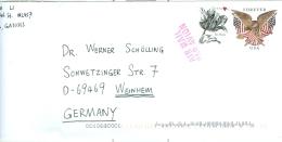 USA Ganzsache Forever USA Seeadler Fahnen + Blume Tulpe Luftpostfrief Nach BRD - Postal Stationery