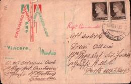 CARTOLINA DOPOLAVORO FORZE ARMATE PNF FASCISTA - TRINO VERCELLI - 1941 1° RGT ARTIGLIERIA CONTRAEREA - Militari