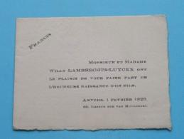 FRANCIS ( Willy Lambrechts - Luyckx ) Longe Rue Van Ruusbroec 66 / Anvers 1 Fevrier 1925 ( Voir Photo Pour Détail ) ! - Birth & Baptism