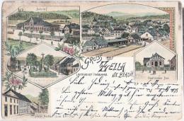 Gruss Aus ZELLA ST BLASII MEHLIS Color Litho Bahnhof Hotel Müller Bad 22.7.1898 Gelaufen - Zella-Mehlis