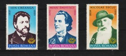 1989 - Personnalites Roumaines Mi 4555/4557 Et Yv 3849/3851 MNH - 1948-.... Republiken