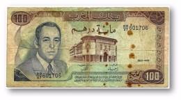 MOROCCO - 100 DIRHAMS - 1985 - Pick 58.b - Sign. 9 - Serie DD/47 - King Hassan II - Kingdom - Maroc - 2 Scans - Maroc
