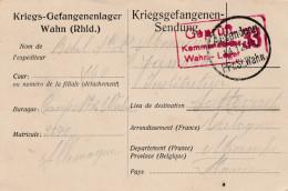 "POW Camp N°2 Wahn 1915 Naar Frankrijk - ""geprüft Kommandantur Wahn Lager 33"". - Kriegsgefangenschaft"