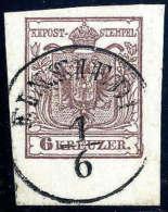 Gest. 6 Kr. Braun, Type III, Breitrandiges Rekordstück Mit 6mm Bogenrand Unten. K1 EINSIEDL 1/6 (Böhmen),... - Stamps