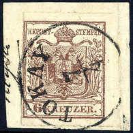 Briefst. 6 Kr. Braun, Type III, Tokayer Durchstich, Zentrisch Und übergehend Entwertet Mit K1 TOKAY 7/4 Auf... - Stamps