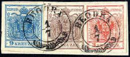 Briefst. 3 Kr. Rot, Type IIIb, 6 Kr. Braun, Type III, 9 Kr. Blau, Type IIIb, Alle Gut Gerandet Und In Einer Reihe... - Stamps