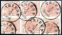 Gest. 3 Kr. Rosarot, Type IIIb, Senkrechter Kabinett-Sechserblock Mit Guten Bis Breiten Rändern, Schön... - Stamps