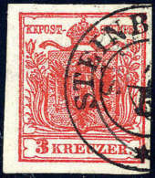 Gest. 3 Kr. Rot, Geripptes Papier, Kabinettstück Mit K2 STEIN(BRÜCKEN). Befund... - Stamps