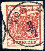 Briefst. Tokayer Durchstich: 3 Kr. Rot, Type IIIa, Oben Geschnitten, Auf Restbriefstück, Zentr. K1 TOKAY 8/7.... - Stamps