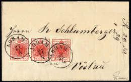 3 Kr. Tiefrot, Type Ib, Drei Gut Gerandete Exemplare, Streifenförmig Geklebt, Jede Marke Zentrisch Entwertet... - Stamps