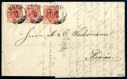3 Kr. Rot, Type IIIa, Waagerechter Dreierstreifen Mit 6mm Bogenrand Links, Jede Marke Schön Entwertet Mit... - Stamps