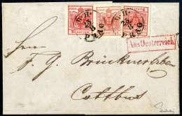 3 Kr. Dunkelrot, Type IIIa, Drei Breitrandige Einzelstücke, Eine Marke In Hellerer Nuance,  Mit K1 B.H. PRAG... - Stamps