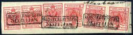 Briefst. 3 Kr. Rot, Type IIIa, Sechs Exemplare In Einer Reihe Frankiert (eine Marke Links Tangiert) Schön... - Stamps