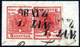 Briefst. 3 Kr. Dunkelrot, Type Ia, Zwei Exemplare Gegeneinander Kopfstehend Frankiert Auf Briefstück Mit L2... - Stamps