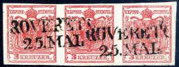"""Gest. 3 Kr. Rot, Type IIIa, Waagerechter Kabinett-Dreierstreifen, Gute Bis Breite Ränder, L2 """"ROVERETO 25.MAI.... - Stamps"""