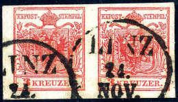 Gest. 3 Kr. Rot, Type IIIa, Breitrandiges Paar Mit K1 LINZ 24.NOV. Kabinett. (Michel: 3Xa(2)) - Stamps