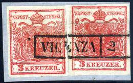 Gest. 3 Kr. Dunkelzinnoberrot, Type Ia, Zwei Exemplare Zusammen Verwendet Mit R1 VICENZA Im Centesimi-Gebiet, Auf... - Stamps