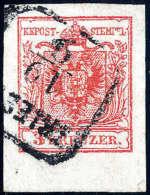 Gest. 3 Kr. Rot, Type IIIa, Breitrandig, Unten 5 Mm Bogenrand.  R3 TRIESTE. Kabinett. (Michel: 3Xa) - Stamps