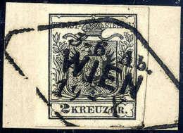 Briefst. 2 Kr. Schwarz, Type IIIb, Gute Bis Breite Ränder, Briefstück Mit Stempel Der Wiener... - Stamps