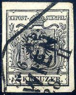 Gest. 2 Kr. Schwarz, Type IIIb, Gute Ränder, Stempel Der Wiener Stempelgruppe, Sign. Ferchenbauer. (Michel:... - Stamps