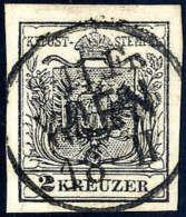 Gest. 2 Kr. Schwarz, Type IIIb, Dickes Papier, Zentrischer K1 WIEN. Kabinett. (Michel: 2Ya) - Stamps