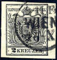 Gest. 2 Kr. Schwarz, Type IIIb, K1 WIEN Aus Der Wiener Stempelgruppe. Breitrandiges Prachtstück. (Michel: 2Ya) - Stamps
