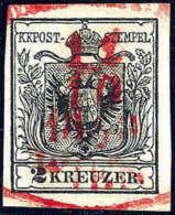 Gest. 2 Kr. Schwarz, Type IIIb, Zentr. Roter, Ovaler Wiener Stempel. Kabinett. (Michel: 2Ya) - Stamps