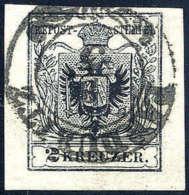 Gest. 2 Kr. Tiefschwarz, Type IIIb, Liebhaberstück Mit Guten Bis Breiten Rändern, Zier-K2 PARDUBITZ 9/3,... - Stamps
