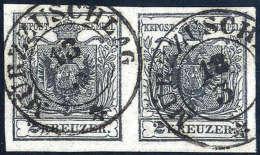 Gest. 2 Kr. Grauschwarz, Type Ia, Breitrandiges, Waagerechtes Kabinett-Paar Mit  K2 MÜRZUSCHLAG 18/3... - Stamps