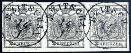 Gest. 2 Kr. Silbergrau, Type Ia, Waagerechter Dreierstreifen, Linke Marke Randdruck. Der Hervorragend Erhaltene... - Stamps