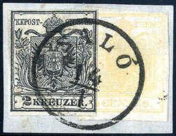 Briefst. 2 Kr. Schwarz, Type Ia Mit Lombardei-Venetien 5 C. Gelbocker, überlappend Frankiert, Schön... - Stamps