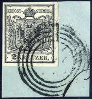 Briefst. 2 Kr. Schwarz, Type Ia, Wasserzeichen, Gute Bis Breite Ränder, Vollständiger Stummer Stempel Von... - Stamps