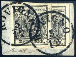 Briefst. 2 Kr. Schwarz, Type III, Ganze Marke Und Senkrechte Halbierung, Rechte Hälfte, Gute Bis Breite... - Stamps