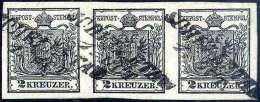 Gest. 2 Kr. Schwarz, Type IIIa, Waagerechter Dreierstreifen, Breite Ränder, Jede Marke Kursiver L2 SCHELLETAU... - Stamps