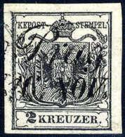 Gest. 2 Kr. Schwarz, Type Ia, Gute Bis Breite Ränder, Schreibschrift-L2 PRAG 16. NOV. Kabinett. (Michel: 2Xa) - Stamps
