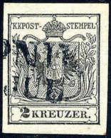 Gest. 2 Kr. Schwarz, Type Ia, Gute Bis Breite Ränder, Bläulichschwarzer Stempel Von LEIPNIK. Befund... - Stamps