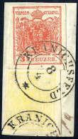 Briefst. 1 Kr. Kadmiumgelb, Type III Mit 3 Kr. Rosarot, Type IIIb, Gute Bis Breite Ränder, Zentr. K2... - Stamps