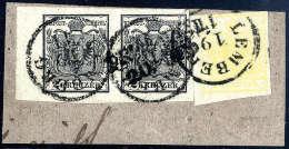 Briefst. 1 Kr. Kadmiumgelb, Type III Mit 2 Kr. Schwarz, Type IIIa, Waagerechtes Paar Mit 7 Mm Bogenrand Links Auf... - Stamps