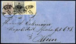 1 Kr. Goldgelb, Type Ib, 2 Kr. Schwarz Und 6 Kr. Braun, Beide Type III, Gute Bis Breite Ränder, In Einer Reihe... - Stamps
