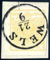Briefst. 1 Kr. Goldgelb, Type Ib Auf Briefstück Mit Deutlichem K1 WELS 21/9. Farbtiefe Marke Auf Perfektem... - Stamps